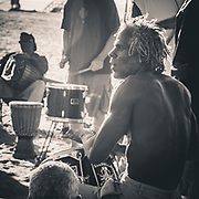 Catching the beat. Social drumming session on the beach in Santa Monica, California. Not far away from the infamous Muscle Beach I was caught up with this small group on the beach having a chilled drum, all slightly hypnotic as the sun started to set.