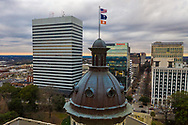 Clemson flag flying over the State House in Columbia, SC, following Clemson winning the football 2018 NCAA National Championship.