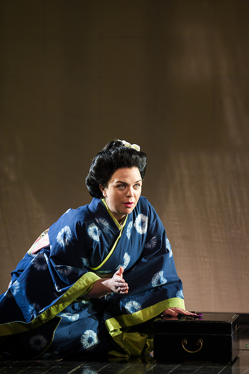 """LONDON, UK, 14 May, 2016. Stephanie Windsor-Lewis (as Suzuki) rehearses for the revival of director Anthony Minghella's production of Puccini's opera """"Madam Butterfly"""" at the London Coliseum for the English National Opera. The production opens on 16 May. Photo credit: Scott Rylander."""