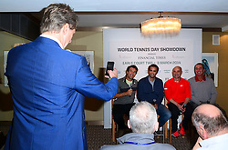 (L-R) Andrew Castle, (taking selfie for Pat Cash) Pat Cash, Pete Sampras, Andre Agassi Ivan Lendl attends World Tennis Day Showdown press conference ahead of his participation in World Tennis Day Showdown today, where Agassi will play Sampras, and Lendl will play Cash in memory of their 'epic Grand Slam rivalries', at The Athenaeum Hotel, 116 Piccadilly, London, United Kingdom. Monday, 3rd March 2014. Picture by Nils Jorgensen / i-Images