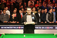 Ronnie O'Sullivan lifts the trophy after beating Neil Robertson 9-5 in the final. .Betvictor Welsh Open snooker 2016, Final day at the Motorpoint Arena in Cardiff, South Wales on Sunday 21st  Feb 2016.  <br /> pic by Julian Davies, Andrew Orchard sports photography.