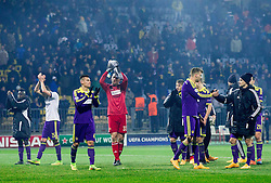 Players of Maribor after the football match between NK Maribor, SLO  and FC Schalke 04, GER in Group G of Group Stage of UEFA Champions League 2014/15, on December 9, 2014 in Stadium Ljudski vrt, Maribor, Slovenia. Photo by Vid Ponikvar / Sportida