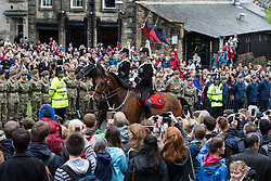 © Licensed to London News Pictures . 29/05/2015 . Lancaster , UK . Thousands of people line Castle Hill on the approach to Lancaster Castle for the visit of HRH Queen Elizabeth II ( and Duke of Lancaster ) . Photo credit : Joel Goodman/LNP