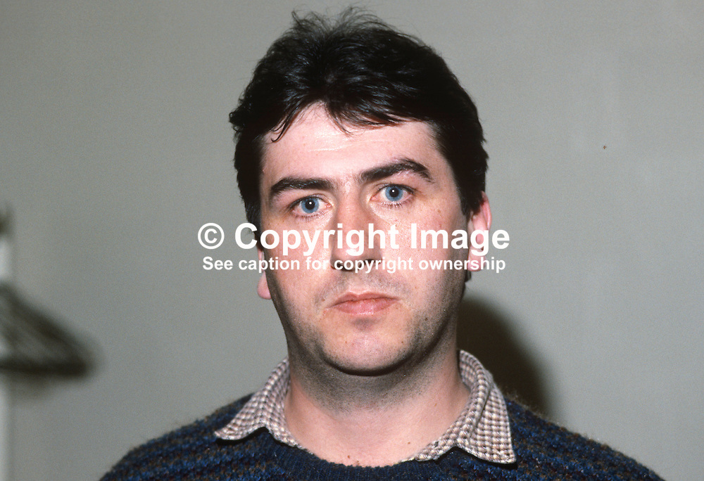 Gerry Downes, brother of Sean Downes, who was killed in disputed circumstances by a plastic bullet fired by an RUC reserve constable during a Provisional Sinn Fein 12th August 1984 anti-internment rally in Andersonstown, Belfast, N Ireland, UK, in an incident which generated hugh controversy. Television footage showed the former republican prisoner running at the police with a thin white stick and an officer firing a plastic bullet at him from close range. Fresh controversy broke out two years later when the police officer concerned was acquitted of manslaughter. 19840123GD1.<br /> <br /> Copyright Image from Victor Patterson, Belfast, UK<br /> <br /> t: +44 28 9066 1296 (from Rep of Ireland 048 9066 1296)<br /> m: +44 7802 353836<br /> e: victorpattersonbelfast@gmail.com<br /> <br /> www.images4media.com<br /> <br /> Please see my full Terms and Conditions of Use at https://www.images4media.com/p/terms-conditions - it is IMPORTANT that you familiarise yourself with them.<br /> <br /> Images used online incur an additional cost. This cost should be agreed in writing in advance. Online images must be visibly watermarked i.e. © Victor Patterson or that of the named photographer within the body of the image. The original metadata must not be deleted from images used online.<br /> <br /> This image is only available for the use of the download recipient i.e. television station, newspaper, magazine, book publisher, etc, and must not be passed on to a third party. It is also downloaded on condition that each and every usage is notified within 7 days to victorpattersonbelfast@gmail.com.<br /> <br /> The right of Victor Patterson (or the named photographer) to be identified as the author is asserted in accordance with The Copyright Designs And Patents Act (1988). All moral rights are asserted.