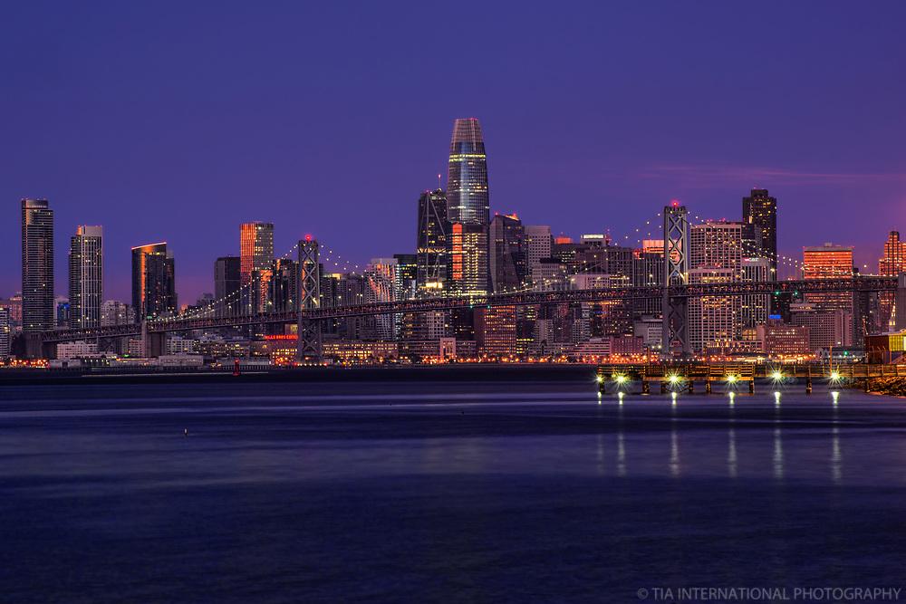 Downtown SF & Bay Bridge, Blue Hour Morning