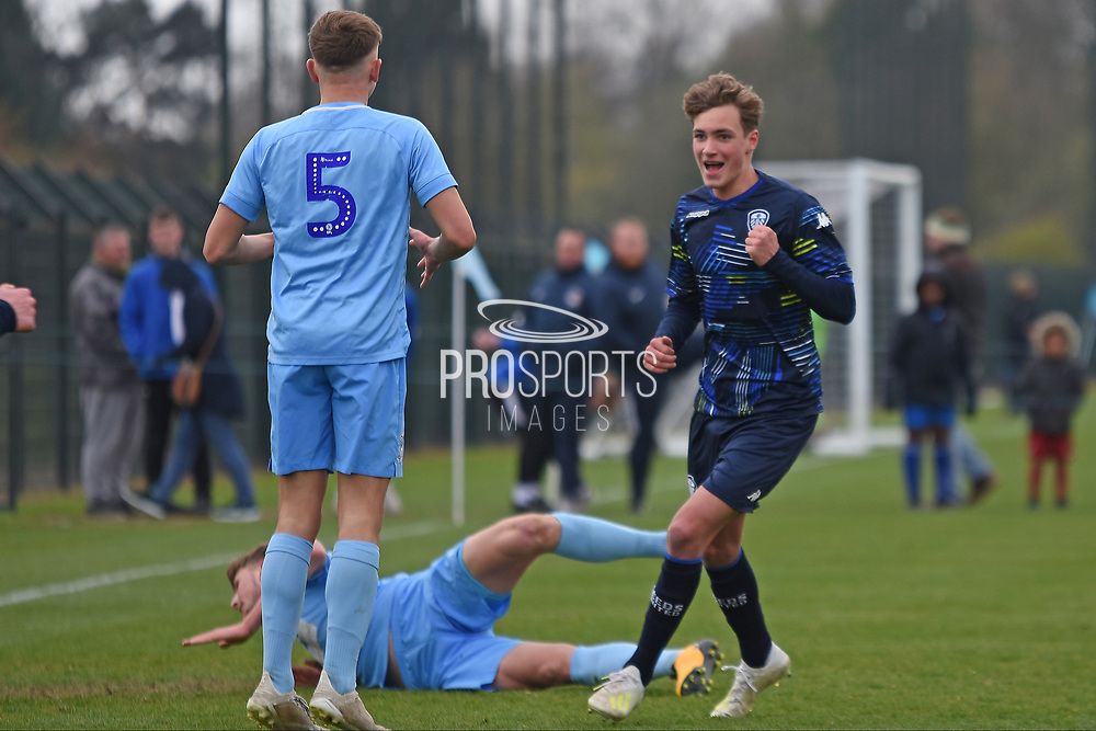 Leeds United forward Niklas Haughland scores a goal 3-0 and celebrates during the U18 Professional Development League match between Coventry City and Leeds United at Alan Higgins Centre, Coventry, United Kingdom on 13 April 2019.