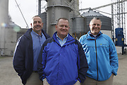 SHOT 10/29/18 9:55:16 AM - Sunrise Cooperative is a leading agricultural and energy cooperative based in Fremont, Ohio with members spanning from the Ohio River to Lake Erie. Sunrise is 100-percent farmer-owned and was formed through the merger of Trupointe Cooperative and Sunrise Cooperative on September 1, 2016. Photographed at the Clyde, Ohio grain elevator was George D. Secor President / CEO and John Lowry<br /> Chairman of the Board of Directors with  CoBank RM Gary Weidenborner. (Photo by Marc Piscotty © 2018)