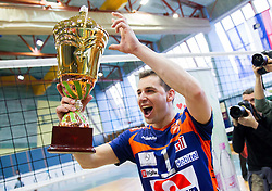 Andrej Flajs of ACH celebrates after winning the volleyball match between Calcit Volleyball and ACH Volley in 4th Final Round of Radenska Classic League 2012/13 on April 16, 2013 in Arena Kamnik, Slovenia. ACH Volley defeated Calcit Kamnik in games 3-1 and became Slovenian National Champion 2013.(Photo By Vid Ponikvar / Sportida)