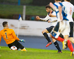 Falkirk's Rory Loy shots past Cowdenbeath's keeper Thomas Flynn.<br /> half time : Cowdenbeath 0 v 0 Falkirk, Scottish Championship game today at Central Park, the home ground of Cowdenbeath Football Club.<br /> © Michael Schofield.