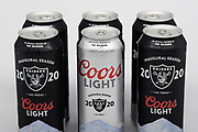 A six pack of Coors Light 24 oz. Las Vegas Raiders 2020 inaugural season beer cans are seen on Friday, June 27, 2020.