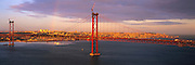 PORTUGAL, LISBON Ponte 25 de Abril, finished in 1966, one of the world's longest suspension bridges crosses the Tagus River