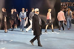 German designer Karl Lagerfeld makes an appearance during Chanel Spring-Summer 2008 Ready-to-Wear collection presentation held at Le Grand Palais in Paris, France, on October 5, 2007. Photo by Khayat-Nebinger-Orban-Taamallah/ABACAPRESS.COM