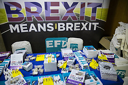 © Licensed to London News Pictures . 29/09/2017 . Torquay , UK . Brexit means Brexit stand at the conference venue . The UK Independence Party Conference at the Riviera International Centre . UKIP is due to announce the winner of a leadership election which has the potential to split the party . Photo credit: Joel Goodman/LNP