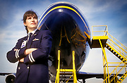 Female pilot, Heathrow, London, UK