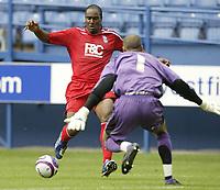 Photo: Aidan Ellis.<br /> Sheffield Wednesday v Birmingham City. Pre Season Friendly. 04/08/2007.<br /> Birmingham's Cameron Jerome looks to beat Wednesday keeper Lee Grant