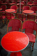 Red cafe tables on Champs Elysees in Paris, France