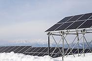 The Oguni solar power plant in Kitakata, Fukushima, Japan<br /> Photographer: Christina Sjögren<br /> Copyright 2018, All Rights Reserved<br /> <br /> Solpanelerna är uppsatta på höga ställningar eftersom området ofta får mycket stora mängder snö på vintern.<br /> <br /> The solar panels are put up on high scaffolding because this area is getting large amounts of snow in the winter time.