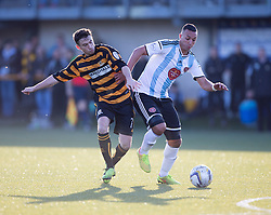 Alloa Athletic's Kevin Cawley and Hearts Soufian El Hassnaoui.<br /> Alloa Athletic 0 v 1 Hearts, Scottish Championship played at Recreation Park, Alloa.