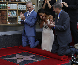 May 3, 2018 - Los Angeles, California, U.S - Hollywood Chamber of Commerce, President/CEO Leron Gubler, right, Zoe Saldana, center and LA Councilmember Mitch O'Farrell attend Zoe Saldana star honoring ceremony on the Hollywood Walk of Fame in Los Angeles, the United States, May 3, 2018. (Credit Image: © Ringo Chiu via ZUMA Wire)