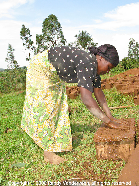 Rwanda- A Rwandan woman makes mud bricks which will dry in the sun before being used to construct a pig shelter for a business co-operative in Rwanda's South Province. Pigs are often seen as a way of making money because people expect the animals to have large litters. The animals in Rwanda do not usually produce the litter sizes common in Western nations because they graze rather than being fed. Often they are not a good option as to be good producers pigs should eat the same food people do.
