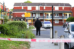 © Licensed to London News Pictures. 14/05/2020. London, UK. The crime scene on Victoria Crescent in Haringey, north London. Police launch a murder investigation after a 23-year-old man was fatally stabbed. Police were called just before 8.15 pm on Wednesday, 13 May, to Russell Road in Tottenham, following reports of a man with stab injuries. Officers and London Ambulance Service provided treatment at the scene. The injured man was taken to a hospital, where he later died. Photo credit: Dinendra Haria/LNP