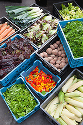 Boxes of freshly harvested produce at De Kas Restaurant, Amsterdam