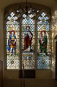 Stained glass window Saint Michael, Jesus Christ, Saint Gabriel at Waldringfield church, Suffolk, England, UK c 1917 by Powell