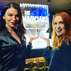 """Felicia Day releases a photo on Instagram with the following caption: """"Made it out of the house to the @magicianssyfy premiere party! The fab @seragamble in da haus!"""". Photo Credit: Instagram *** No USA Distribution *** For Editorial Use Only *** Not to be Published in Books or Photo Books ***  Please note: Fees charged by the agency are for the agency's services only, and do not, nor are they intended to, convey to the user any ownership of Copyright or License in the material. The agency does not claim any ownership including but not limited to Copyright or License in the attached material. By publishing this material you expressly agree to indemnify and to hold the agency and its directors, shareholders and employees harmless from any loss, claims, damages, demands, expenses (including legal fees), or any causes of action or allegation against the agency arising out of or connected in any way with publication of the material."""