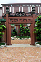 Entrance to Nan Lian Garden and Chi Lin Nunnery, Kowloon (Diamond Hill), Hong Kong, August 2008. The Nan Lian garden is built on a classical design of the Tang Dynasty, with rocks, ponds, and plantings.   Photo: Peter Llewellyn