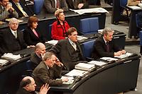 20 JAN 2000, BERLIN/GERMANY:<br /> Rudolf Seiters, Angela Merkel, Dagmar Wöhrl, Wolfgang Schäuble, Hans-Peter Repnik, Michael Glos, Peter Ramsauer, während der Debatte zur CDU Spendenaffäre, der Platz von HelmutKohl ist leer, Plenum, Deutscher Bundestag<br /> IMAGE: 20000120-01/02-02<br /> KEYWORDS: Dagmer Woehrl, Wolfgang Schaeuble