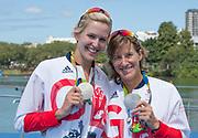 "Rio de Janeiro. BRAZIL.   GBR W2X Silver Medalist Katherine GRAINGER and Vicky THORNLEY 2016 Olympic Rowing Regatta. Lagoa Stadium,<br /> Copacabana,  ""Olympic Summer Games""<br /> Rodrigo de Freitas Lagoon, Lagoa.   Thursday  11/08/2016 <br /> <br /> [Mandatory Credit; Peter SPURRIER/Intersport Images]"