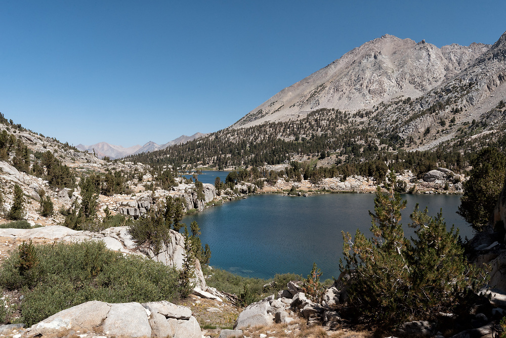 Rae Lakes seen on the descent from Glen Pass while hiking counterclockwise on the Rae Lakes Loop