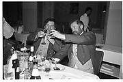 Cosmo Hulton and David Kirke, night before the Dangerous Sports club ski race, St. Moritz. 1984. © Copyright Photograph by Dafydd Jones 66 Stockwell Park Rd. London SW9 0DA Tel 020 7733 0108 www.dafjones.com
