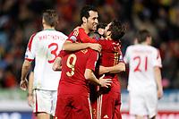 Spain's Paco Alacer, Sergio Busquets, Koke Resurreccion and Jordi Alba celebrate goal during 15th UEFA European Championship Qualifying Round match. November 15,2014.(ALTERPHOTOS/Acero)