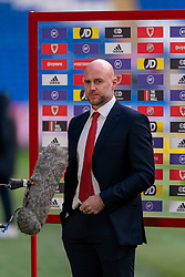 CARDIFF, WALES - Sunday, November 15, 2020: Wales' assistant coach Robert Page, who stands in for manager Ryan Giggs after he was arrested on suspicion of assault, pictured during a television interview before the UEFA Nations League Group Stage League B Group 4 match between Wales and Republic of Ireland at the Cardiff City Stadium. Wales won 1-0. (Pic by David Rawcliffe/Propaganda)