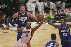 November 5, 2017 - Los Angeles, California, United States of America - Lou Williams #23 and Blake Griffin #32 of the Los Angeles Clippers and Wayne Ellington #2 of the Miami Heat during their NBA game on Sunday November 5, 2017 at the Staples Center in Los Angeles, California. Clippers lose to Heat 101-104. ARIANA RUIZ/PI (Credit Image: © Prensa Internacional via ZUMA Wire)
