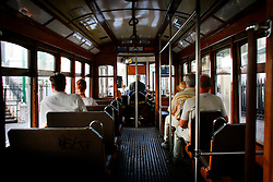 PORTUGAL LISBON 8OCT06 - Interior of Tram No 28 which travels on a very scenic route through Lisbon's narrow streets and a major tourist attraction.. . jre/Photo by Jiri Rezac. . © Jiri Rezac 2006. . Contact: +44 (0) 7050 110 417. Mobile:  +44 (0) 7801 337 683. Office:  +44 (0) 20 8968 9635. . Email:   jiri@jirirezac.com. Web:    www.jirirezac.com. . © All images Jiri Rezac 2006 - All rights reserved.