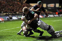 Jamie Gibson (Leicester) scores the bonus point try for Leicester Tigers - Photo mandatory by-line: Patrick Khachfe/JMP - Tel: Mobile: 07966 386802 08/12/2013 - SPORT - RUGBY UNION -  Welford Road, Leicester - Leicester Tigers v Montpellier - Heineken Cup.