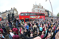 Mass West Ham United crowd chanting outside Boleyn Ground before k/o. scenes around the Boleyn Ground, Upton Park in East London as West Ham United play their last ever game at the famous ground before their move to the Olympic Stadium next season. Barclays Premier league match, West Ham Utd v Man Utd at the Boleyn Ground in London on Tuesday 10th May 2016.<br /> pic by John Patrick Fletcher, Andrew Orchard sports photography.