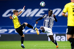 Cedric Kipre of West Bromwich Albion challenges Lloyd Kerry of Harrogate Town - Mandatory by-line: Robbie Stephenson/JMP - 16/09/2020 - FOOTBALL - The Hawthorns - West Bromwich, England - West Bromwich Albion v Harrogate Town - Carabao Cup