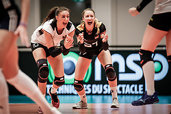 16.05.2019, Montreux, SUI, Montreux Volley Masters 2019, Deutschland vs Polen, im Bild Double joy: Lena Stigrot (Germany #10) and Elisa Lohmann (Germany #27) // during the Montreux Volley Masters match between Germany and Poland in Montreux, Switzerland on 2019/05/16. EXPA Pictures © 2019, PhotoCredit: EXPA/ Eibner-Pressefoto/ beautiful sports/Schiller<br /> <br /> *****ATTENTION - OUT of GER*****