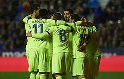 December 16, 2018 - Valencia, Valencia, Spain - FC Barcelona players celebrates a goal during the La Liga match between Levante UD and FC Barcelona at Ciutat de Valencia Stadium on December 16, 2018 in Valencia, Spain. (Credit Image: © AFP7 via ZUMA Wire)
