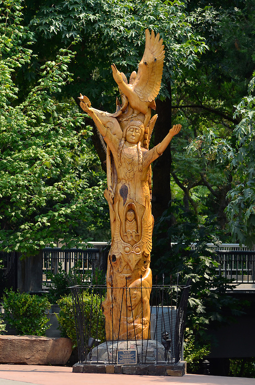 Totem sculpture in Ashland, Oregon.