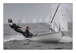 470 Class European Championships Largs - Day 2.Wet and Windy Racing in grey conditions on the Clyde....