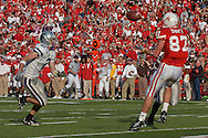 Nebraska wide receiver Nate Swift (R) pulls in a 34-yard touchdown catch in the third quarter as Kansas State free safety Marcus Watts (L) defends on the play.  Nebraska defeated Kansas State 27-25 at Memorial Stadium in Lincoln, Nebraska, November 12, 2005.