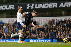 Seamus Coleman of Everton is challenged by Roberto Soldado of Tottenham Hotspur - Photo mandatory by-line: Rogan Thomson/JMP - 07966 386802 - 30/11/2014 - SPORT - FOOTBALL - London, England - White Hart Lane - Tottenham Hotspur v Everton - Barclays Premier League.