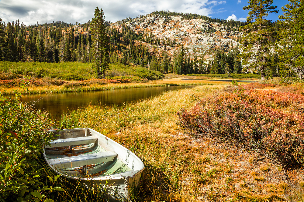 """""""Boat at Mud Lake 1"""" - Photograph of a small fishing boat shot in the morning at Mud Lake in California's Plumas National Forest."""