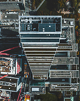 Aerial view of the Roche tower, the swiss tallest skyscraper, build in terrasse. Photo taken on topdown, in Basel Switzerland