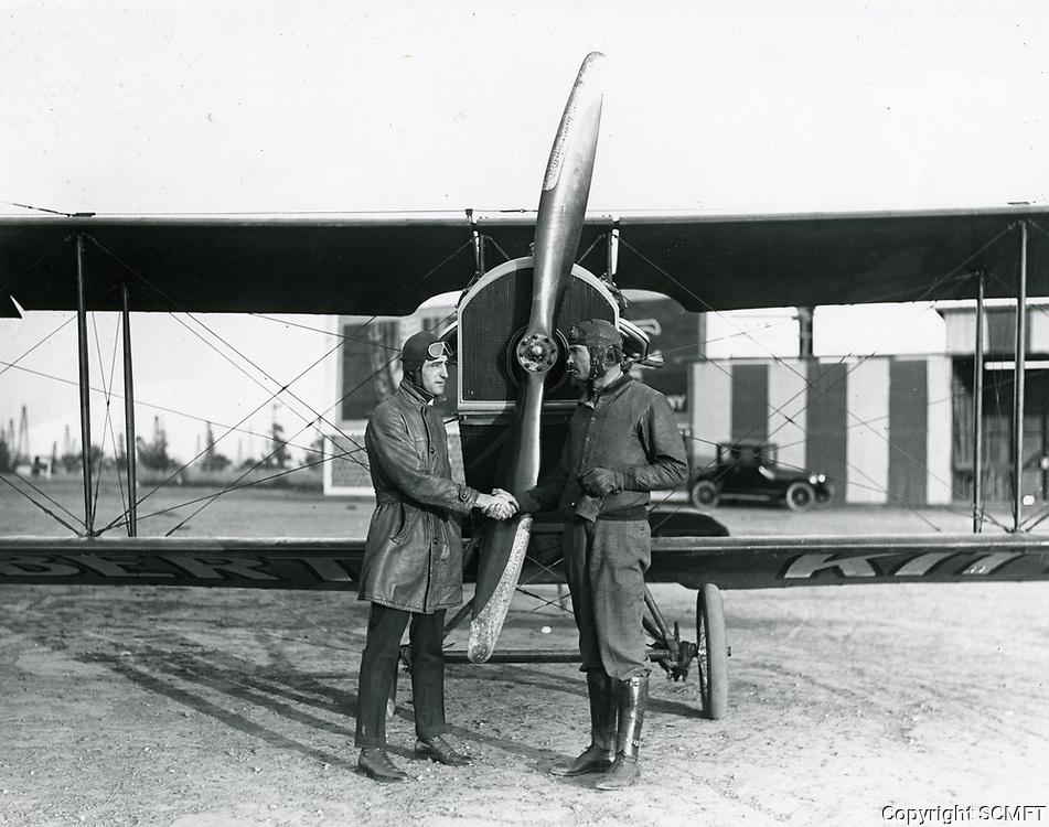 1920 Pilots at Chaplin Airdrome at Wilshire & Fairfax Blvds.