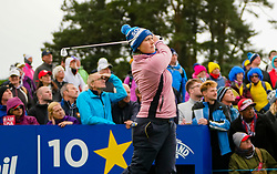 Auchterarder, Scotland, UK. 14 September 2019. Saturday afternoon Fourballs matches  at 2019 Solheim Cup on Centenary Course at Gleneagles. Pictured; Caroline Masson of Team Europe follows her tee shot on the 10th hole. Iain Masterton/Alamy Live News
